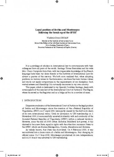 Legal position of Serbia and Montenegro following the break-up of the SFRY / Vladimir-Djuro Degan