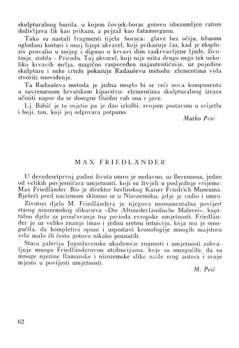 Max Friedländer / M. Peić