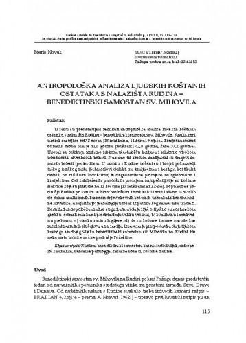 Antropološka analiza ljudskih koštanih ostataka s nalazišta Rudina - benediktinski samostan sv. Mihovila / Mario Novak