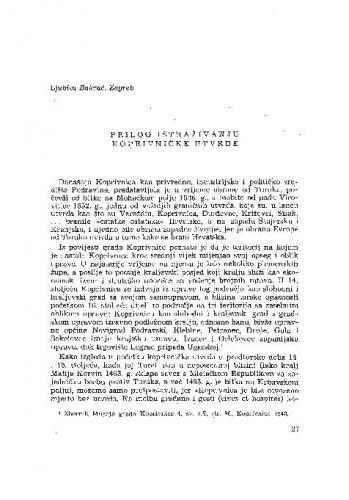 Prilog istraživanju koprivničke utvrde / Lj. Bakrač