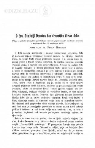 O dru. Dimitriji Demetru kao dramatiku ilirske dobe / F. Marković