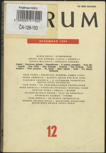 God. 19(1980), knj. 40, br. 12 / glavni i odgovorni urednik Marijan Matković