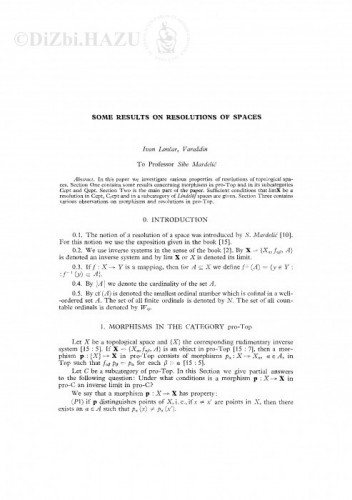 Some results on resolutions of spaces / I. Lončar
