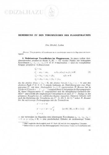 Bemerkung zu den Torusflaechen des Flaggenraumes / Otto Röschel