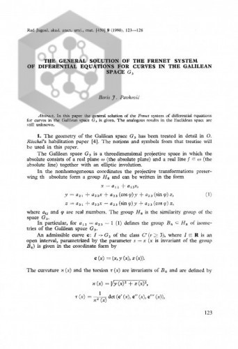 The general solution of the Frenet system of differential equations for curves in the Galilean space G3 / B. J. Pavković