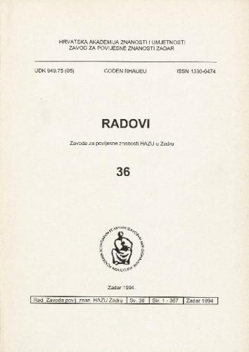 Sv. 36(1994) : Radovi Zavoda za povijesne znanosti HAZU u Zadru