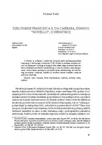 """Djelovanje Francesca II. da Carrara, zvanog """"Novello"""", u Hrvatskoj"""