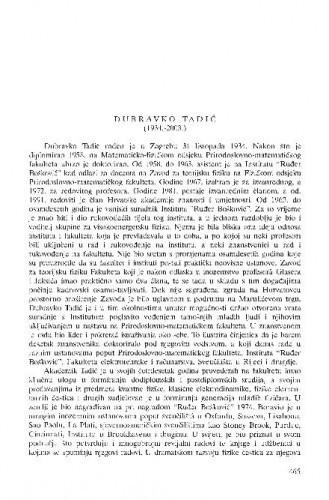 Dubravko Tadić (1934.-2003.) : [in memoriam] / Vladimir Paar