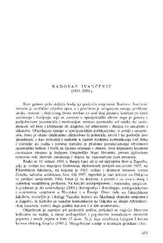 Radovan Ivančević (1931.-2004.) : [nekrolog] / Tonko Maroević