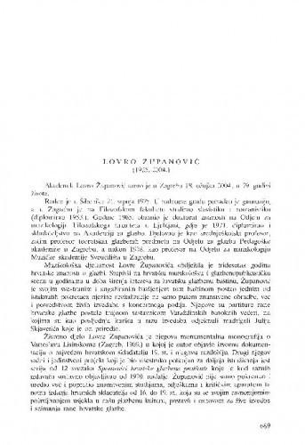 Lovro Županović (1925.-2004.) : [nekrolog] / Koraljka Kos