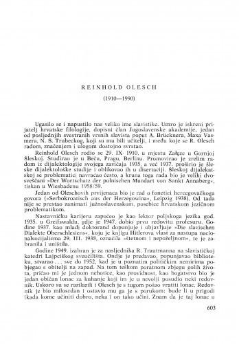 Reinhold Olesch (1910-1990) : [nekrolozi] / Petar Šimunović