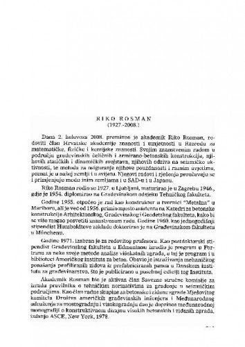 Riko Rosman (1927.-2008.) : [nekrolog] / Ksenofont Ilakovac