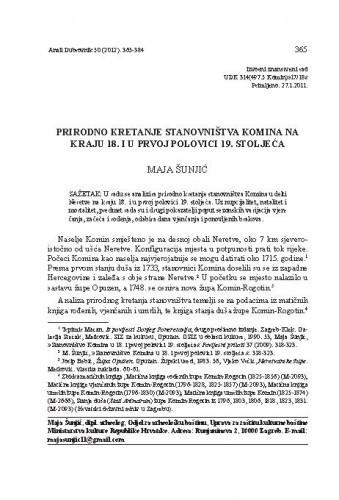Prirodno kretanje stanovništva Komina na kraju 18. i u prvoj polovici 19. stoljeća / Maja Šunjić