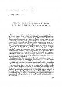 Priznanje novih država i vlada u praksi dubrovačke diplomacije / J. Andrassy