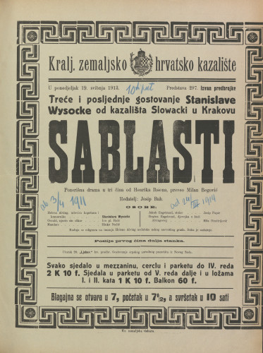 Sablasti : Pozorišna drama u tri čina