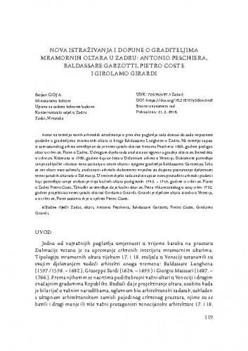 Nova istraživanja i dopune o graditeljima mramornih oltara u Zadru: Antonio Peschiera, Baldassare Garzotti, Pietro Coste i Girolamo Girardi / Bojan Goja