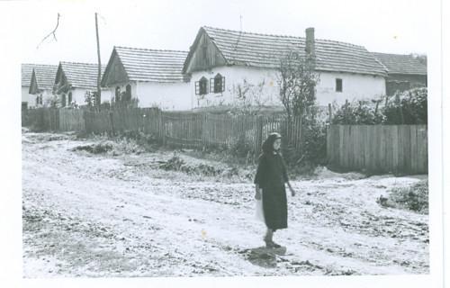 Selo - snimljeno odozdo prema gore, žena prolazi selom [Benković, Vlado  ]