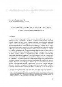 Stvarnopravna osiguranja tražbina : (izazovi za reformu i modernizaciju) / Tatjana Josipović