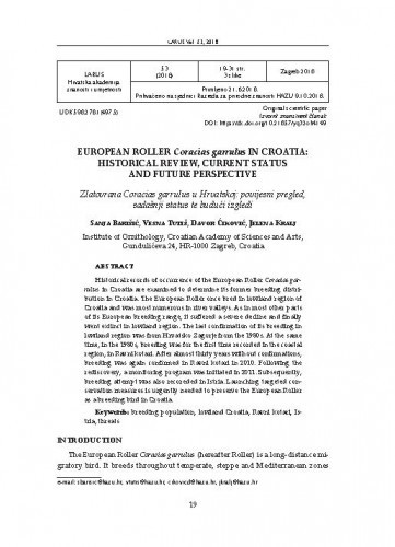 European Roller Coracias garrulus in Croatia: historical review, current status and future perspective / Sanja Barišić, Vesna Tutiš, Davor Ćiković, Jelena Kralj
