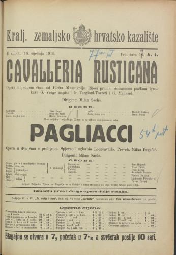 Cavalleria rusticana ; Pagliacci Opera u jednom činu ; Opera u dva čina sa prologom