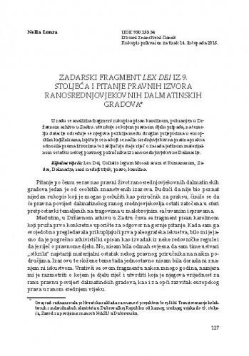 Zadarski fragment Lex Dei iz 9. stoljeća i pitanje pravnih izvora ranosrednjovjekovnih dalmatinskih gradova,