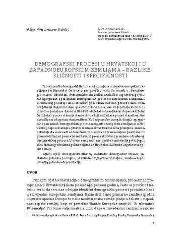 Demografski procesi u Hrvatskoj i u zapadnoeuropskim zemljama - razlike, sličnosti i specifičnosti / Alica Wertheimer-Baletić