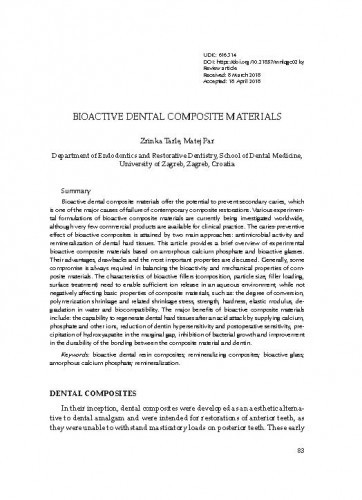 Bioactive dental composite materials / Zrinka Tarle, Matej Par