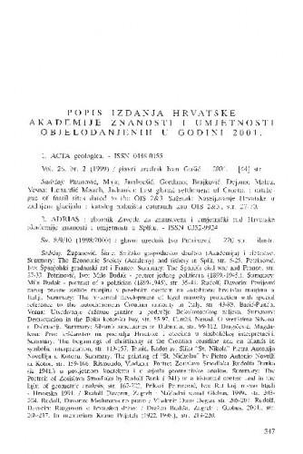 Popis izdanja Hrvatske akademije znanosti i umjetnosti objelodanjenih u godini 2001.
