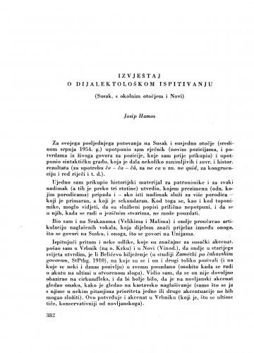 Izvještaj o dijalektološkom ispitivanju (Susak, s okolnim otočjem i Novi) / J. Hamm