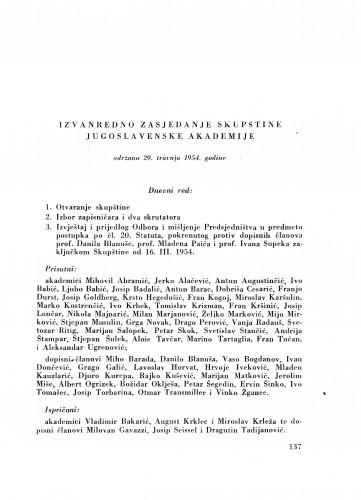 Izvanredno zasjedanje skupštine Jugoslavenske akademije održano 29. travnja 1954. godine