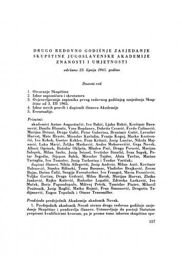 Drugo redovno godišnje zasjedanje Skupštine Jugoslavenske akademije znanosti i umjetnosti održano 23. lipnja 1965. godine