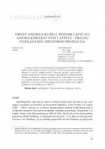 Hrvat Andrija Kuželj, rodom Lapić, ili Andrä Khrabat von Lappitz – prilog poznavanju hrvatskih migracija / Krešimir Kužić