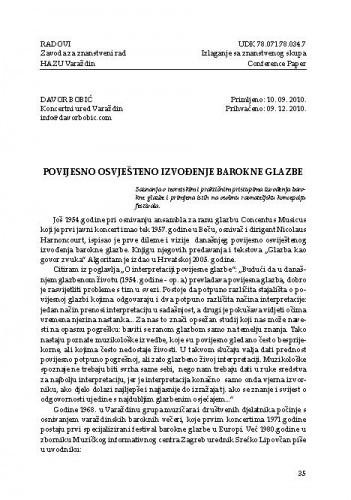 Povijesno osviješteno izvođenje barokne glazbe / Davor Bobić