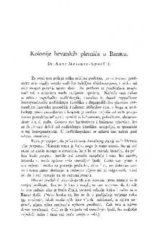 Kolonije hrvatskih plemića u Banatu / A. Messner-Sprošić