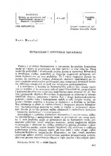 Humanizam u sjevernoj Hrvatskoj / Rafo Bogišić