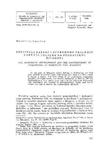 Povijesni razvoj i suvremeno značenje vađenja ugljena na Podravskoj Bilogori / Dragutin Feletar
