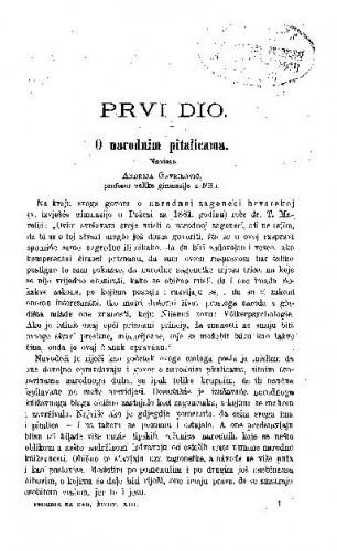 O narodnim pitalicama / A. Gavrilović
