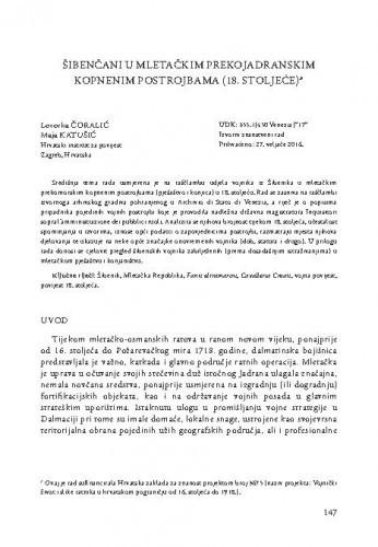 Šibenčani u mletačkim prekojadranskim kopnenim postrojbama (18. stoljeće) / Lovorka Čoralić, Maja Katušić