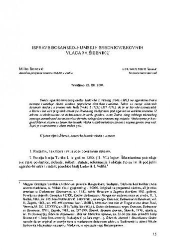 Isprave bosansko-humskih srednjovjekovnih vladara Šibeniku / Milko Brković