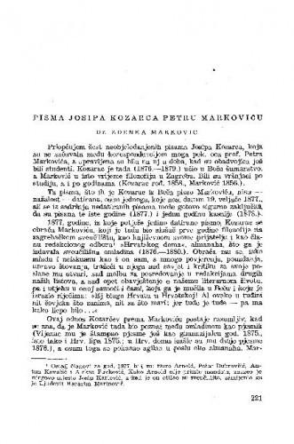Pisma Josipa Kozarca Petru Markoviću / priredila Zdenka Marković