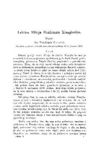 Lektira Silvija Strahimira Kranjčevića / Vladimir Ćorović