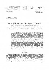 Paleontolog Luka Kraljević : (1886-1932) / M. Malez
