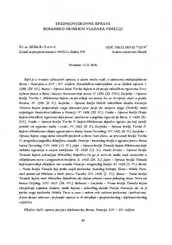 Srednjovjekovne isprave bosansko-humskih vladara Veneciji / Milko Brković