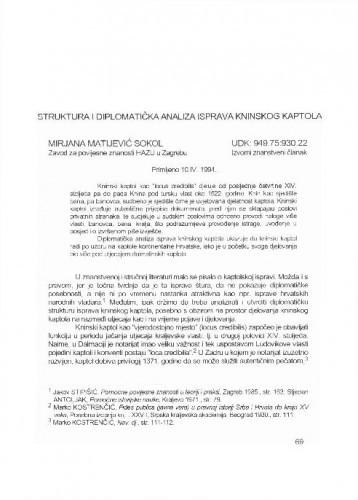 Struktura i diplomatička analiza isprava Kninskog kaptola / Mirjana Matijević-Sokol