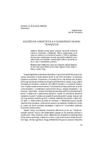 Književna kroatistika u Mađarskoj nakon tranzicije / Orsolya Kálecz-Simon