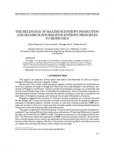 The relevance of maximum entropy production and maximum information entropy principles to biophysics / Paško Županović, Davor Juretić, Domagoj Kuić, Srećko Botrić