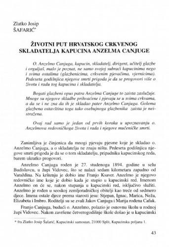 Životni put hrvatskog crkvenog skladatelja kapucina Anzelma Canjuge / Zlatko Josip Šafarić