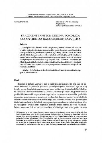 Fragmenti antike: Rudina i okolica od antike do ranog srednjeg vijeka / Goran Đurđević
