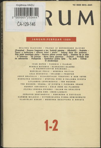 God. 19(1980), knj. 39, br. 1-2 / glavni i odgovorni urednik Marijan Matković