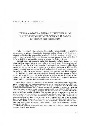 Ženska osobna imena i hrvatski udio u etnosimbiotskim procesima u Zadru do kraja XII. stoljeća / Vesna Jakić-Cestarić